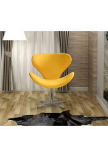Poltrona Swan Base Giratoria Aluminio Bella Decor -Amarelo