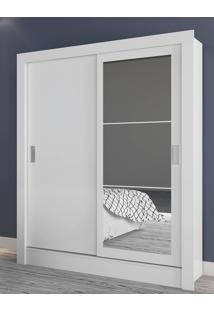 Guarda Roupa Bavária C/ Espelho Branco Brilho/3D Branco Brilho Atualle Móveis - Tricae