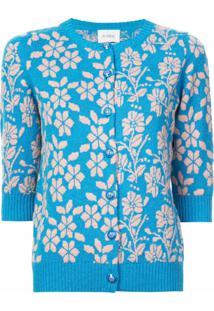 Barrie Cardigã Com Bordado Floral De Cashmere - Azul