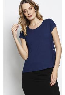 Camiseta Com Manga Curta- Azul Marinho- Blessbless