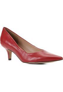 Scarpin Couro Shoestock Salto Médio Bico Fino - Feminino-Vermelho