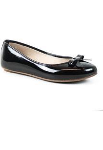 Sapatilha Tag Shoes Verniz Laço Bico Redondo Feminina - Feminino-Preto