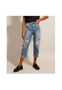 Calça Mom Cropped Jeans Destroyed Marmorizada Cintura Super Alta Azul Médio