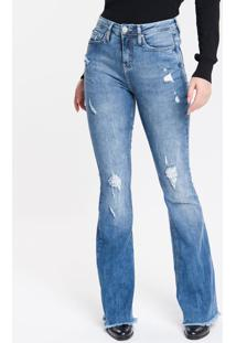 Calça Jeans Feminina Five Pockets Flare Cintura Super Alta Azul Médio Calvin Klein - 34