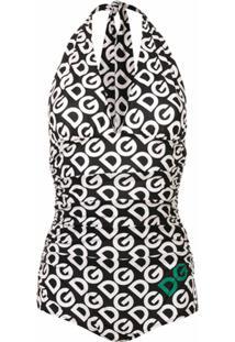 Dolce & Gabbana Maiô Com Logo - Preto