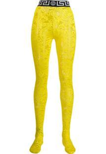 Versace Meia Calça Com Estampa Barroca - Amarelo