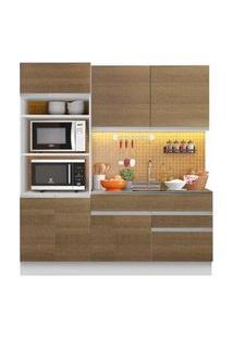 Cozinha Compacta Madesa Glamy Lívia 6 Portas 2 Gavetas Branco/Rustic