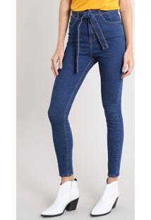 Calça Jeans Feminina Skinny Clochard Azul Escuro