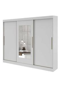 Guarda Roupa Casal C/ Espelho 3 Portas 4 Gavetas C/ Kit Gaveta Montebello Móveis Lopas Branco