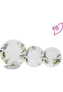 Aparelho De Jantar Villandry Em Porcelana- Branco & Verdfull Fit