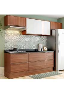 Cozinha Compacta Com Tampo 8 Peças 5456R Calábria - Multimóveis - Nogueira / Branco