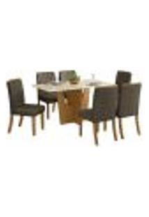 Sala De Jantar Mesa Retangular Vértice 160Cm Com 6 Cadeiras Tauá Nature/Off White/Bege - Henn