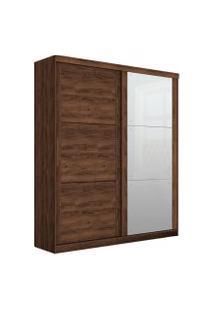 Guarda-Roupa Prático Robel Jacaranda Madeirado 2 Portas De Correr Com 3 Espelhos Marrom