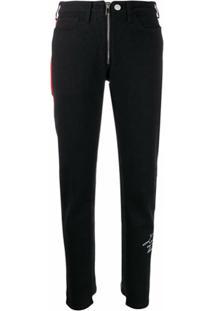 Marcelo Burlon County Of Milan Calça Jeans Slim Com Listra Lateral - Preto