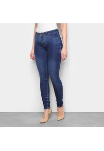 Calça Jeans Skinny Estonada Cintura Baixa Feminina - Feminino