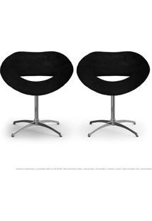Kit 2 Cadeiras Beijo Preta Poltronas Decorativas Com Base Giratória