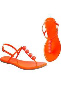 Sandália Rasteira Mercedita Shoes Flat Pirâmide Feminina - Feminino-Laranja Claro