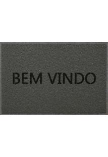 Capacho Vinil Bem Vindo Light 40X60 Cm - Kapazi - Cinza