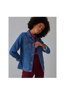 Amaro Feminino Jaqueta Jeans Basic, Azul Médio