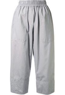 Lee Mathews Calça Cropped Com Cós Elástico - Cinza