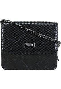 Bolsa Santa Lolla Mini Bag Olímpia Snake Feminina - Feminino-Preto