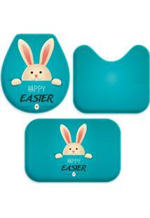 Jogo Tapetes Love Decor Para Banheiro Páscoa Blue Happy Easter Azul
