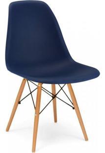 Cadeira Com Encosto E Pés Em Madeira Flórida Siena Móveis Azul Marinho
