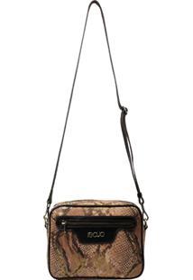 Bolsa Em Couro Recuo Fashion Bag Rosa/Tabaco