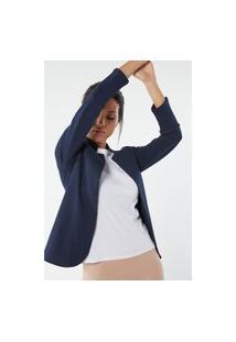 Casaco Manga Comprida Em Interlock De Algodão - Azul M