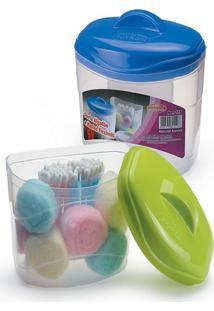 Porta Algodão E Cotonete Organizador Plastico 9X13X13Cm