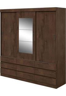 Guarda Roupa Hércules Plus 3 Portas Com Espelho Imbuia Naturale