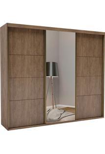 Guarda-Roupa Casal 2,67Cm 3 Portas C/ Espelho Eleganza Pop Fosco-Belmax - Ebano