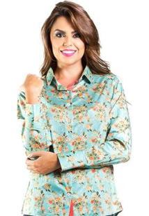 Camisa Slim Pequeno Carlos Brusman Feminina - Feminino-Verde