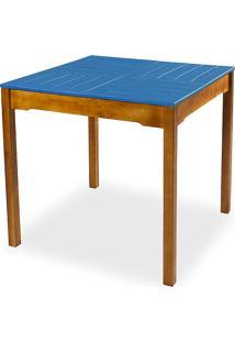Mesa De Jantar Compacta De Madeira Maciça Taeda Natural Com Tampo Colorido Olga – Verniz Nozes/Azul 80X80X75Cm