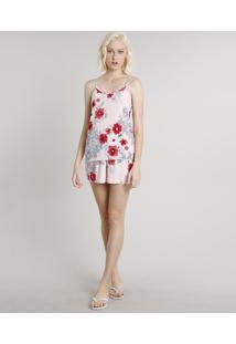 Short Doll Feminino Estampado Floral Rosa Claro