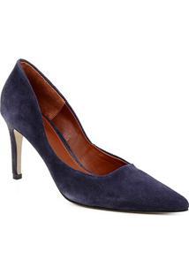 Scarpin Couro Shoestock Salto Alto Graciela - Feminino-Marinho