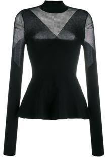 Karl Lagerfeld Blusa De Tricô Com Recortes - Preto
