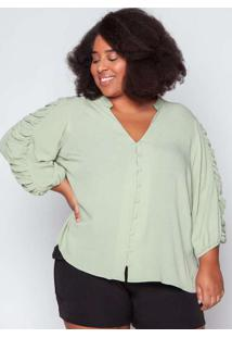 Blusa Almaria Plus Size Tal Qual Viscose Verde