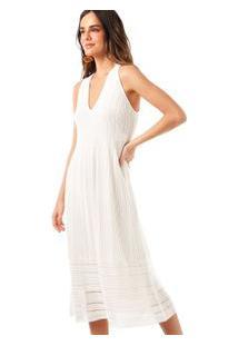 Vestido Rendado Decote V Branco