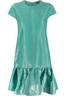 Aspesi Vestido De Cetim Com Acabamento De Babados - Verde