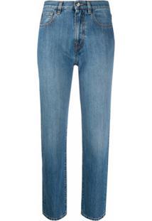 Moncler Calça Jeans Reta Cropped - Azul