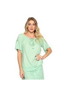 Blusa Plano Listrada Energia Fashion Verde