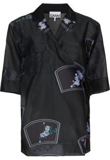 Ganni Blusa Translúcida Com Estampa Floral - Preto