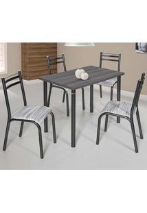 Conjunto De Mesa Com 4 Cadeiras - Plaza - Ciplafe - Branco / Preto