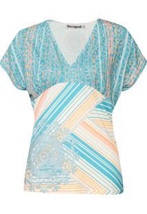 Blusa Desigual Bruna Azul/Off-White