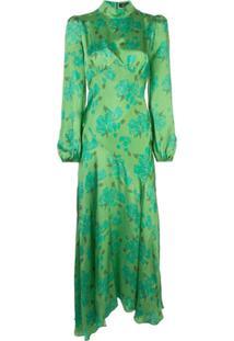 De La Vali Vestido Gola Alta De Cetim Com Estampa Floral - Verde