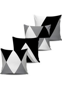 Kit 4 Capas Almofadas Geometrica Preto E Branco 45X45Cm - Tricae