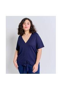 Blusa Gola V Em Viscose Com Amarração Curve & Plus Size | Ashua Curve E Plus Size | Azul | Eg