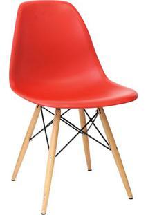 Cadeira Eames Dkr- Vermelha & Madeira Clara- 80,5X46Or Design