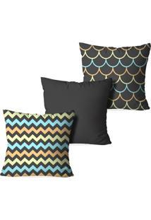 Kit 3 Capas Love Decor Para Almofadas Decorativas Geometrico Multicolorido Marrom